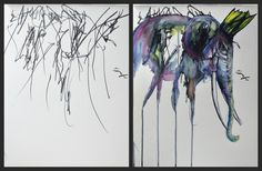This artist takes her 2 year old's scribbles and creates a painting! So cool!