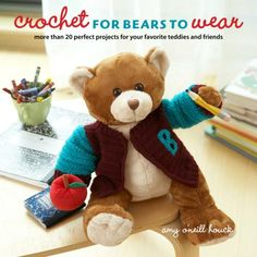 http://www.maggiescrochet.com/crochet-for-bears-to-wear-p-2425.html    20+ fashions for teddies and friends, including Build-A-Bear Workshop bears, Vermont Teddy Bear Company bears, and American Girl dolls.
