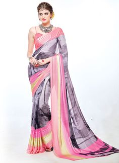 Featuring an impressive grey and pink digital printed saree with satin silk jacquard border.It is paired with matching blouse material.This blouse can be stitched upto size 42. For stitching enquiries, please email at customercare@hunardesigns.com  |…
