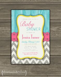 Gray Chevron Baby Shower Invitation Pink Teal by Thirteen20Five, $12.50