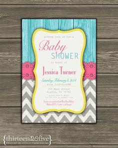 Gray Chevron Baby Shower Invitation Pink Teal Yellow Custom DIY
