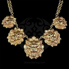 Askew London Graduated 5 Lion Head Classic Necklace from Vesper's smashing Things on ruby lane