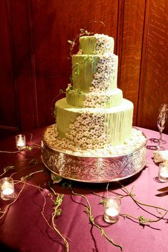 Mint green cake on our Lamour Pomegranate from a wedding at the Westin St Francis