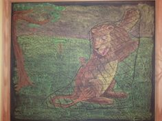Age 08 ~ Aesop's Fables ~ The Lion and the Mouse ~ chalkboard drawing