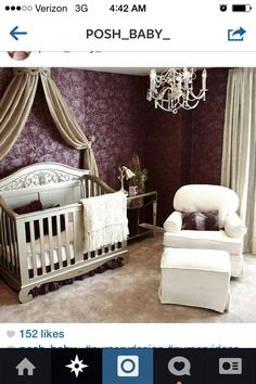 Maroon and silver nursery can be gender neutral