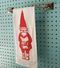Red Gnome Kitchen Towel  retro kitchen Screen by MoxieMadness