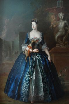 """""""Portrait of Anna Orzelska with a Pug"""", c. 1728, by Antoine Pesne (Prussian, 1683-1757). National Museum, Warsaw. The illegitimate daughter of August II of Poland was portraited in the garden of the Blue Palace in Warsaw."""