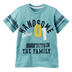 """Boys Carter's """"Handsome 01 Runs in the Family"""" Graphic Tee, Turquoise/Blue (Turq/Aqua) Baby Boy Tops, Carters Baby Boys, Baby Shirts, Boys T Shirts, New T Shirt Design, Shirt Designs, Family Tees, Carter Kids, Kids Wear"""