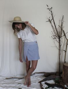 Love for stripes. Our Grace Asymmetric Skirt paired with the Stella Blouse Amor por las rayas. Asymmetrical Skirt, Handmade Clothes, Panama Hat, Trousers, Stripes, Pairs, Blouse, Red, Cotton