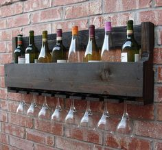 Simply Rustic Wall Mount Wine Rack with 8 Glass Holder by KeoDecor