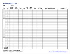 Running Log Template to download and print from www.vertex42. Com #excel #workouttemplate