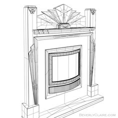 Model of an Art Deco fireplace mantel with contemporary insert. Wireframe view.