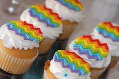 Chevron rainbow cupcake toppers - lovesugarkisses.etsy.com