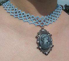 Tatted Choker, Tatted Necklace, Lace Choker, Lace Necklace, Choker With Cameo…