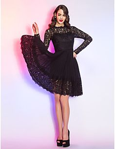 Cocktail Party / Homecoming / Holiday Dress - Black Plus Sizes / Petite A-line Queen Anne Knee-length Lace / Chiffon