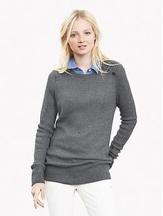 Ribbed Button-Shoulder Pullover