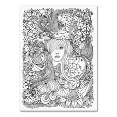 """Trademark Art 'Flower Girls 10' by KCDoodleArt Graphic Art on Wrapped Canvas Size: 32"""" H x 24"""" W x 2"""" D"""