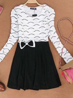 Bowknot long sleeve dress