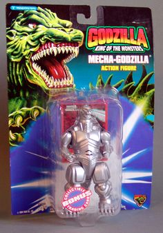 Mecha-Godzilla Action Figure. This 5 inch tall action figure was made in 1994 by Trendmasters. Minor shelf wear to card.