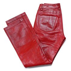 Gap Lined Boot Cut Leather Red Pants Size 1 #GAP #Leather
