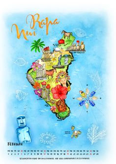 Calendar page: Illustrated map of Easter Island / Rapa Nui © by Claudia Ottilie