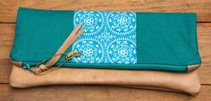 Handmade peacock inspired leather clutch bag by SwayBags on Etsy, $40.00