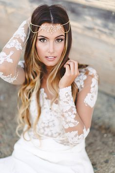 Crystal Flower Halo Headpiece for a Boho Bride