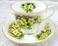 Royal Albert Tea Cup and Saucer with Yellow Flowers, Vintage Bone China