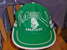 best sneakers 4f78a 3b453 Vintage MSU Spartans Michigan State University NWOT Trucker Hat Snapback Cap   4.99 Michigan State University,