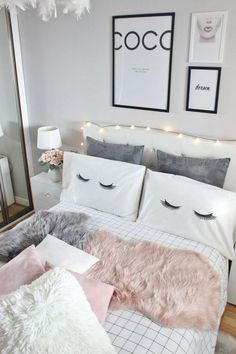 Cute And Girly Bedroom Decorating Ideas For Apartment - Dream Rooms, Dream Bedroom, Closet Bedroom, Bedroom Storage, Cute Room Decor, Teen Girl Bedrooms, Vintage Teen Bedrooms, Light Pink Bedrooms, Guest Bedrooms