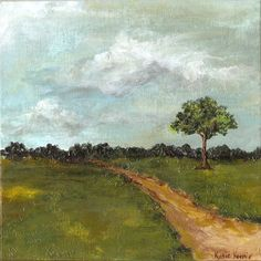 "8 x 8"" Original Textured Acrylic Landscape Painting green brown field and tree with gray blue clouded sky"