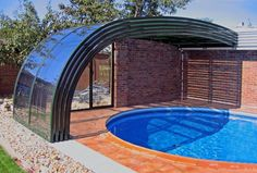 Patio enclosure Corso Style photo galleries - dive into the world of retractable patio enclosures Swimming Pool Enclosures, Patio Enclosures, Swiming Pool, Small Swimming Pools, Swimming Pools Backyard, Swimming Pool Designs, Outdoor Baths, Outdoor Pool, Inside Pool