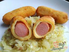Párky v bramborovém kabátku Sausage, Food And Drink, Meat, Pizza, Recipes, Hampers, Food, Easy Meals, Sausages