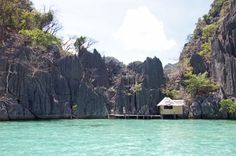 Water bungalow outside Barracuda Lake, Palawan, Philippines