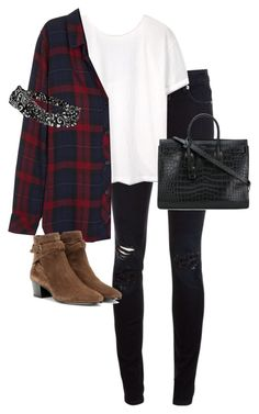 """""""Untitled #13379"""" by alexsrogers ❤ liked on Polyvore featuring Closed, MANGO, Rails, Yves Saint Laurent and Topshop"""