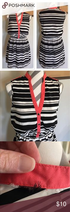 Black/White Striped Dress Adorable dress! Cinched waistband. Coral accent around neckline. Small tear in back at neckline (see last picture) Bust: 16 in. Length: 33 in. Size medium. 100% polyester. Accidentally In Love Dresses Mini