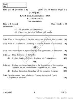 Co-Operation 2008 Pattern - 2013 October - Commerce  FYBCom - University Exam - University of Pune -   Page 1