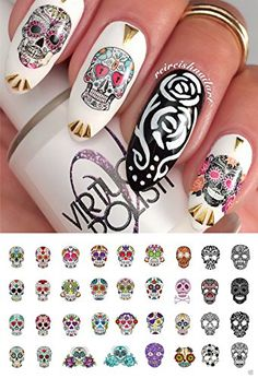 72 Best Sugar Skull Nail Art Decals Images On Pinterest In 2018