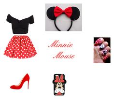 """""""Minnie Mouse"""" by marissa-ch ❤ liked on Polyvore featuring NLY Trend, Christian Louboutin, Disney and Forever 21"""