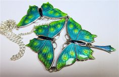 Contemporary art-nouveau-style Sterling Silver Enamel Butterfly Necklace by Charmian Deacon