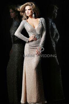 handmade champagne dress/ deep V-neck long-sleeved dress -ZZKKO
