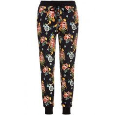 Markus Lupfer Fun Flower Jogging Pants ($95) ❤ liked on Polyvore featuring pants, bottoms, jeans, joggers, black, stretch waist pants, jogging trousers, relaxed pants, pull on pants and jogger pants