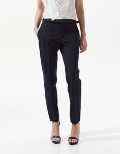 COOL WOOL TROUSERS WITH LINED BELT - Trousers - Woman - ZARA United States