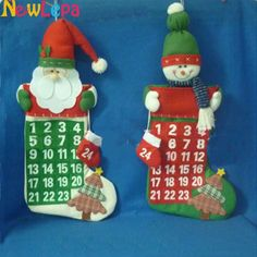2016 New Year Merry Christmas Santa Claus Snowman Calendar Advent Tree Ornament Hanging Banner For Home Decor