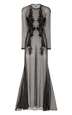 Ladies gothic maxi dress with long sleeves and embroidered detail.