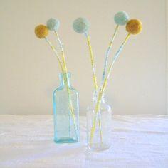 wool pom pom flowers