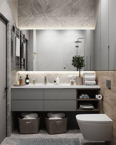 Fürdőszoba ötletek: a tükör mögé rejtett világítás (LED-szalag) nem csak ötletes mego… Bathroom Design Luxury, Modern Bathroom Design, Home Interior Design, Interior Plants, Modern White Bathroom, Small Bathroom, Master Bathroom, Bathrooms, Bathroom Design Inspiration