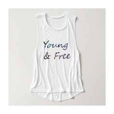 Young Free Basic Tank Top ($31) ❤ liked on Polyvore featuring tops, white tank, white top, white shirt, white singlet y white tank top