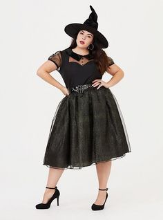 "A tulle skirt maintains its shape in this spell-caster dress costume, that comes complete with a matching witch hat to top off the look. Illusion neck Peter pan collar Sheer short sleeves Shimmering tulle Belt included; adjustable buckle Not sold in stores. No in-store returns. Must be returned in original packaging. CONTENT + CARE Polyester Wash cold; dry flat Imported plus size Halloween costume SIZE + FIT Runs small Model is 5'10"", size 1/2"