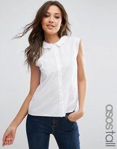 94bcca25f1005 ASOS TALL - Chemise sans manches avec col festonné - Blanc Des Petits  Hauts, Coudre